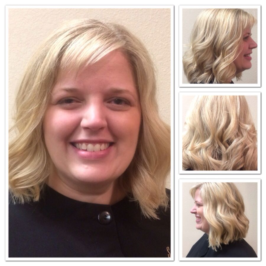 Beautiful blond curls featured styles by salon professionals