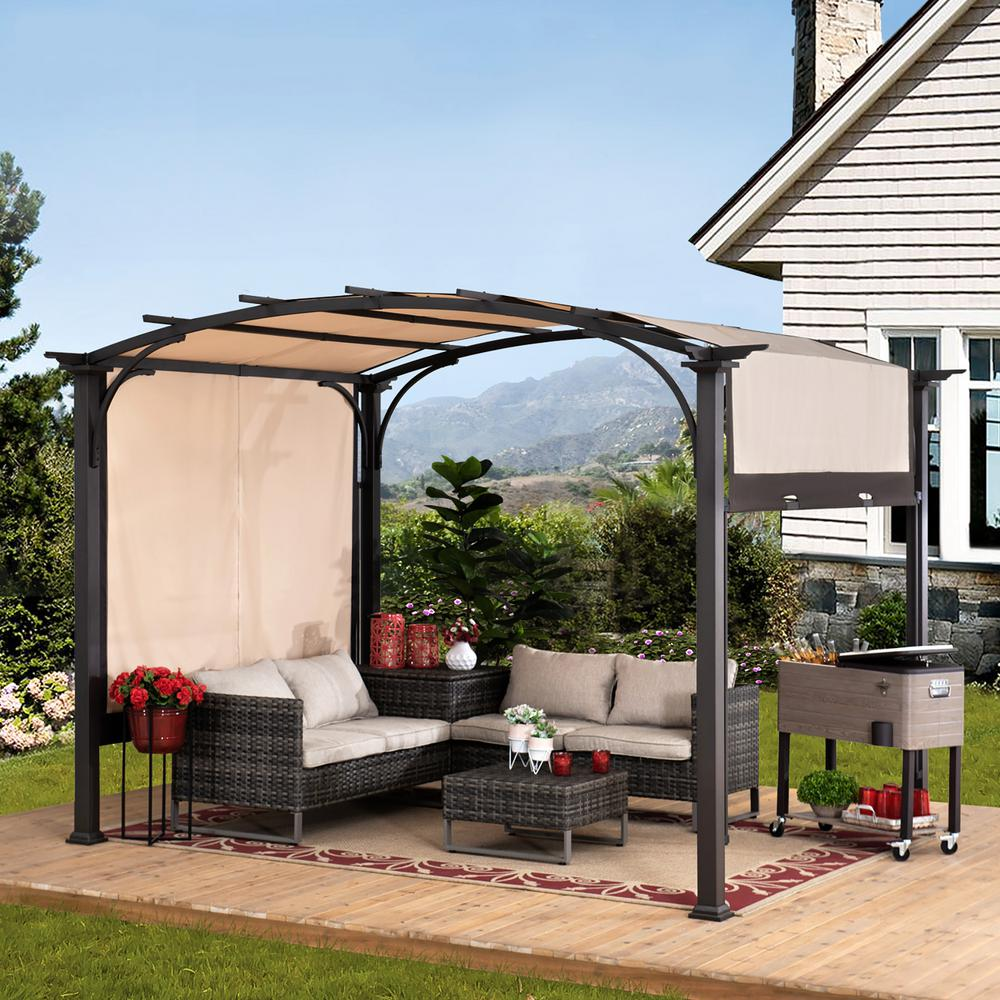Sunjoy Sherman Oaks 10 Ft X 8 Ft Brown Steel Arched Pergola With 2 Tone Adjustable Shade A106005400 The Home Depot In 2020 Outdoor Pergola Pergola Backyard Patio Designs