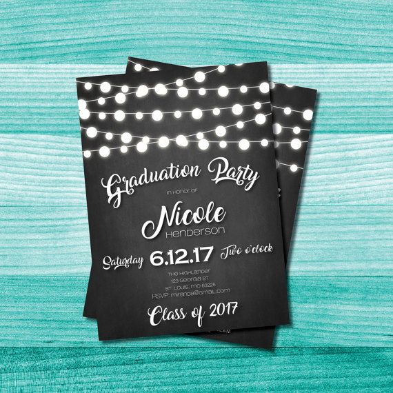 Chalkboard Graduation Party Invitation String Lights Rustic