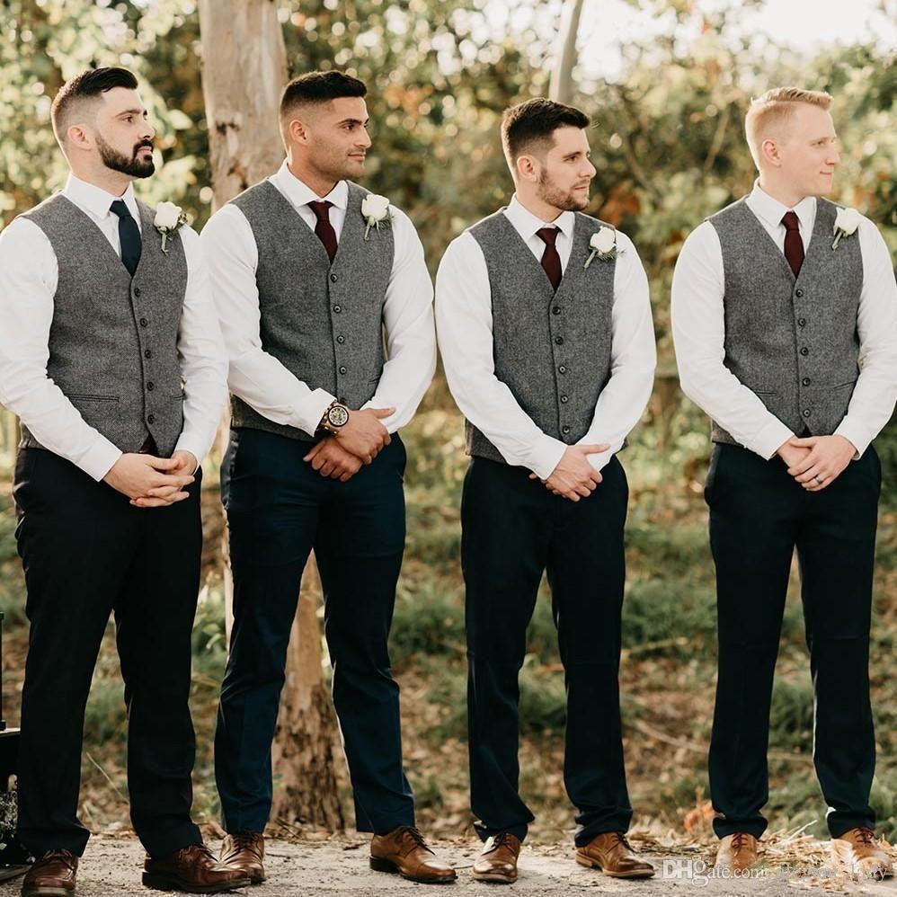 Romatic And Classic Groom Wear Herringbone Tweed Vest For Wedding In 2020 Groomsmen Vest Groomsmen Attire Grey Wedding Groomsmen Attire