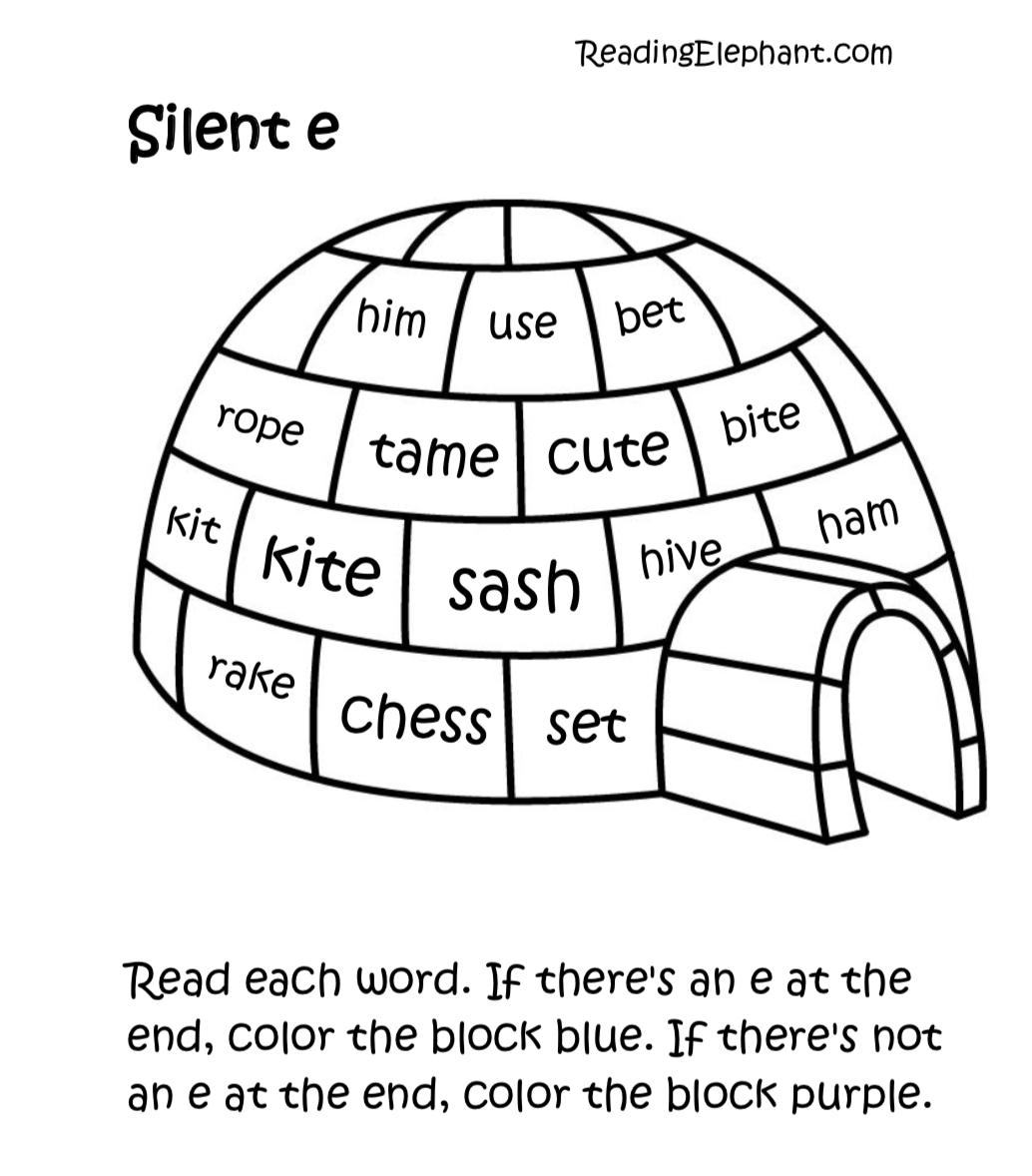 Silent E Worksheets Igloo Fun