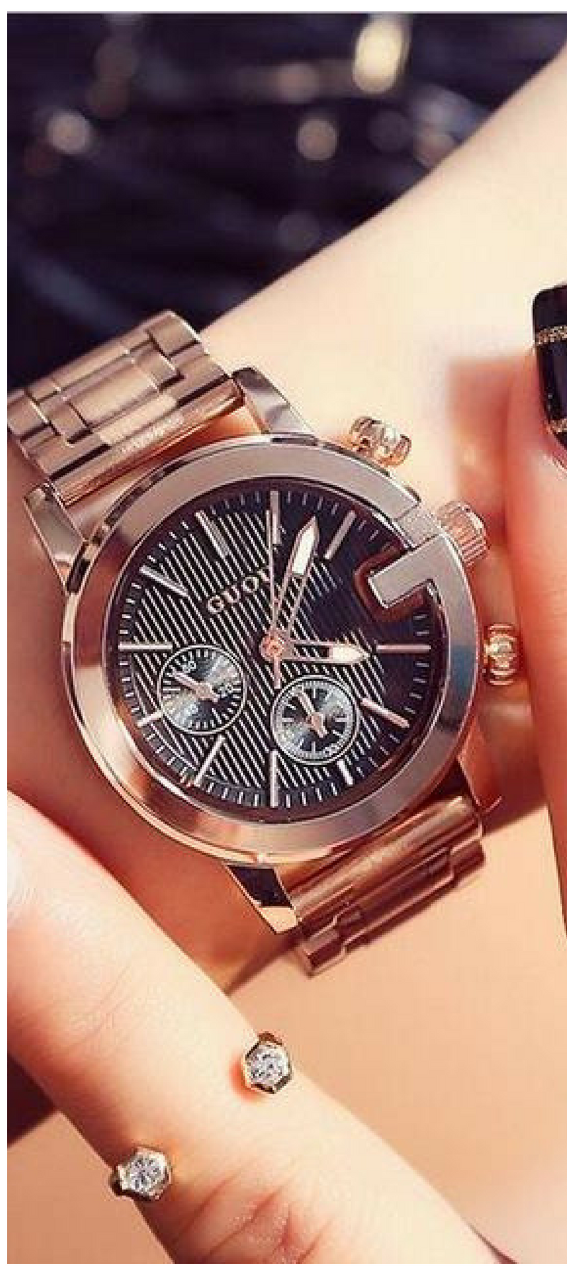 Guou luxury rose gold watch women watches fashion womenus watches