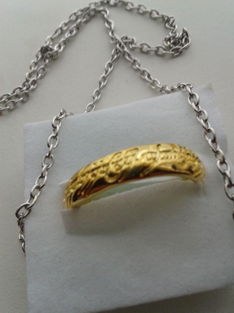 Fun hobbit ring necklace pendant elvish rune engraving lord rings fun hobbit ring necklace pendant elvish rune engraving lord rings gold color new aloadofball Choice Image