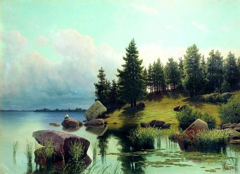 Meshchersky Arseny - At Forest Lake. 900 Classic russian paintings