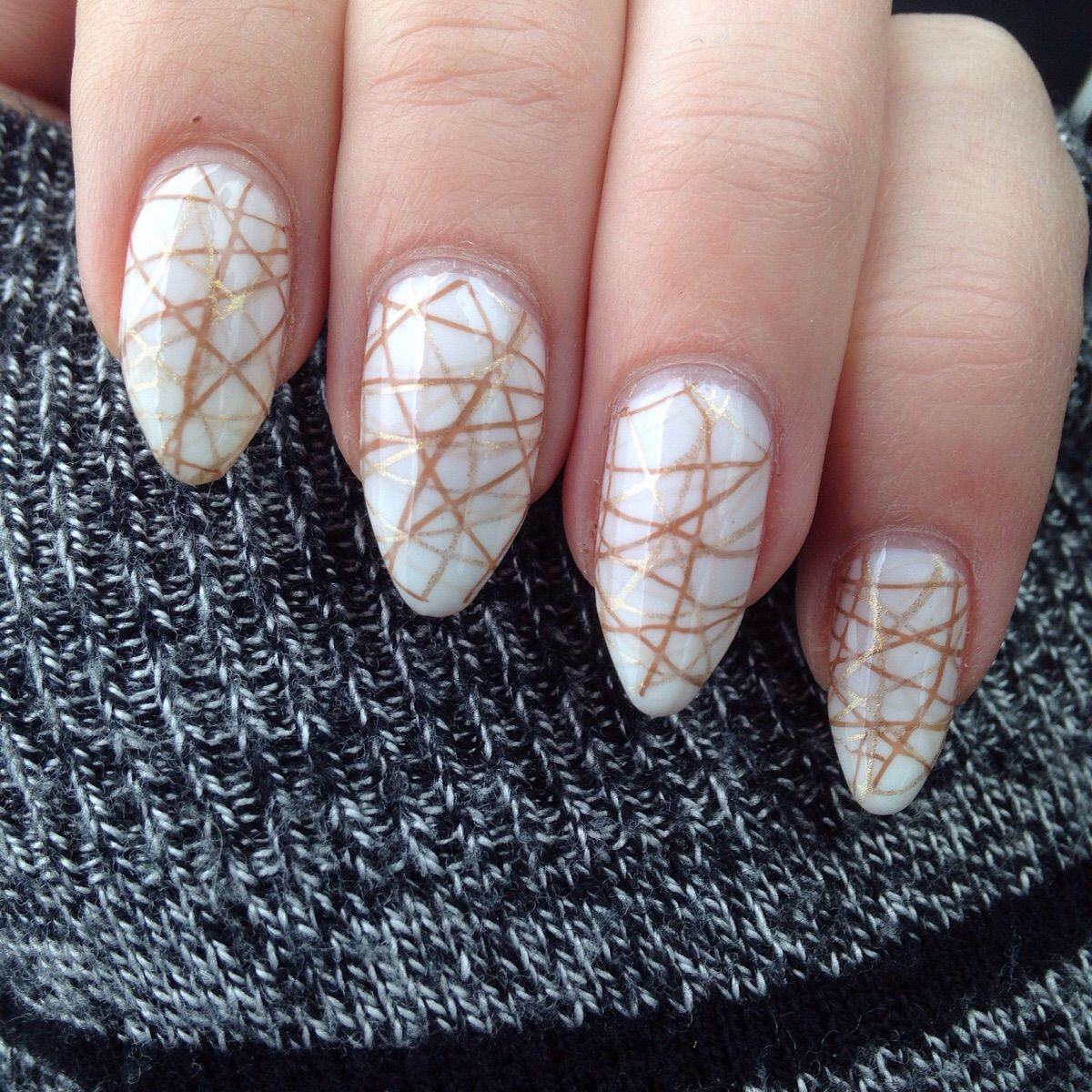 Somewhat subtle triple stamping (beige, gold, brown)