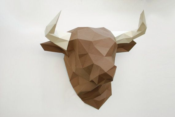 paper bull polygonal bull trophy head bull lowpoly paper bull 3d puzzle diy template head. Black Bedroom Furniture Sets. Home Design Ideas
