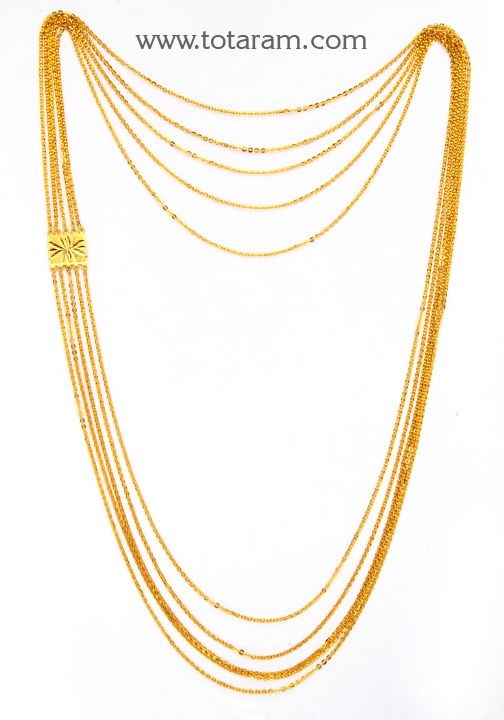 b8bc30ca850a4 22K Gold 5 - Line Chain - Chandanhaar | Traditional Gold Necklaces ...