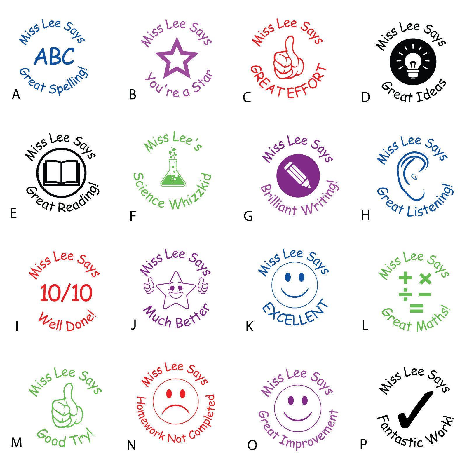 Teacher School Stamp Personalised Customised Ink Praise