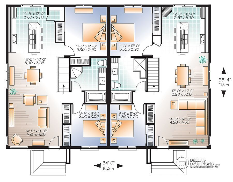 Détail du plan de Maison multi logements W2085-V3 Home plans