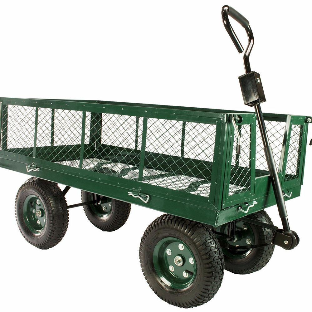 Details About Large Heavy Duty Hauling Metal Garden Cart Wagon Steel Mesh  Bed Folding Sides