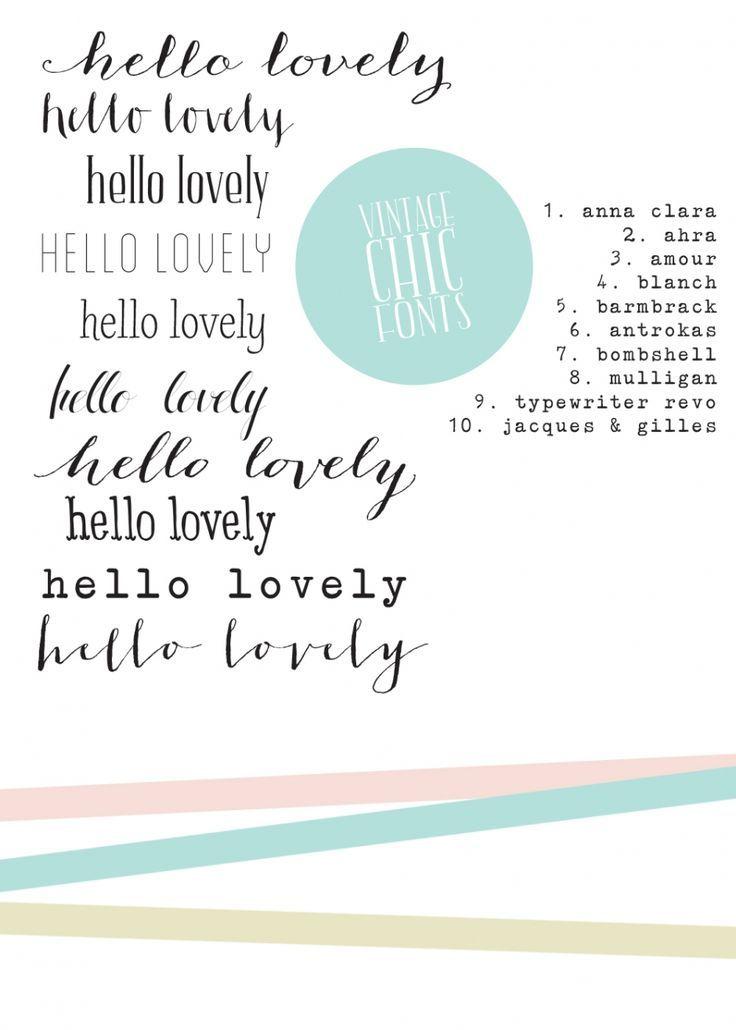 Vintage Chic Fonts Cute Cursive