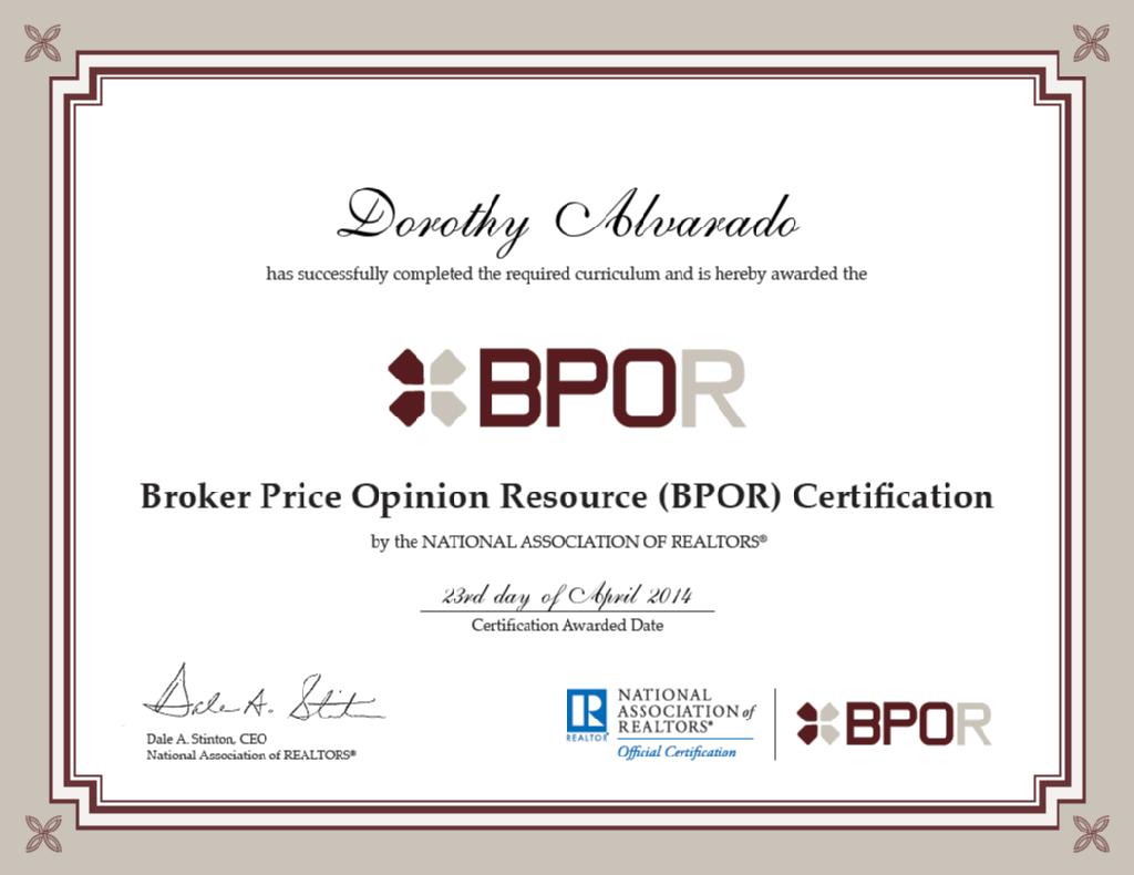 Nar Certification Bpor Broker Price Opinion Resource Dotty Did