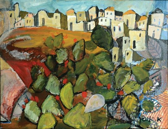 'Landscape with prickly pear cactus' -  Avraham Ofek (1935–1990)