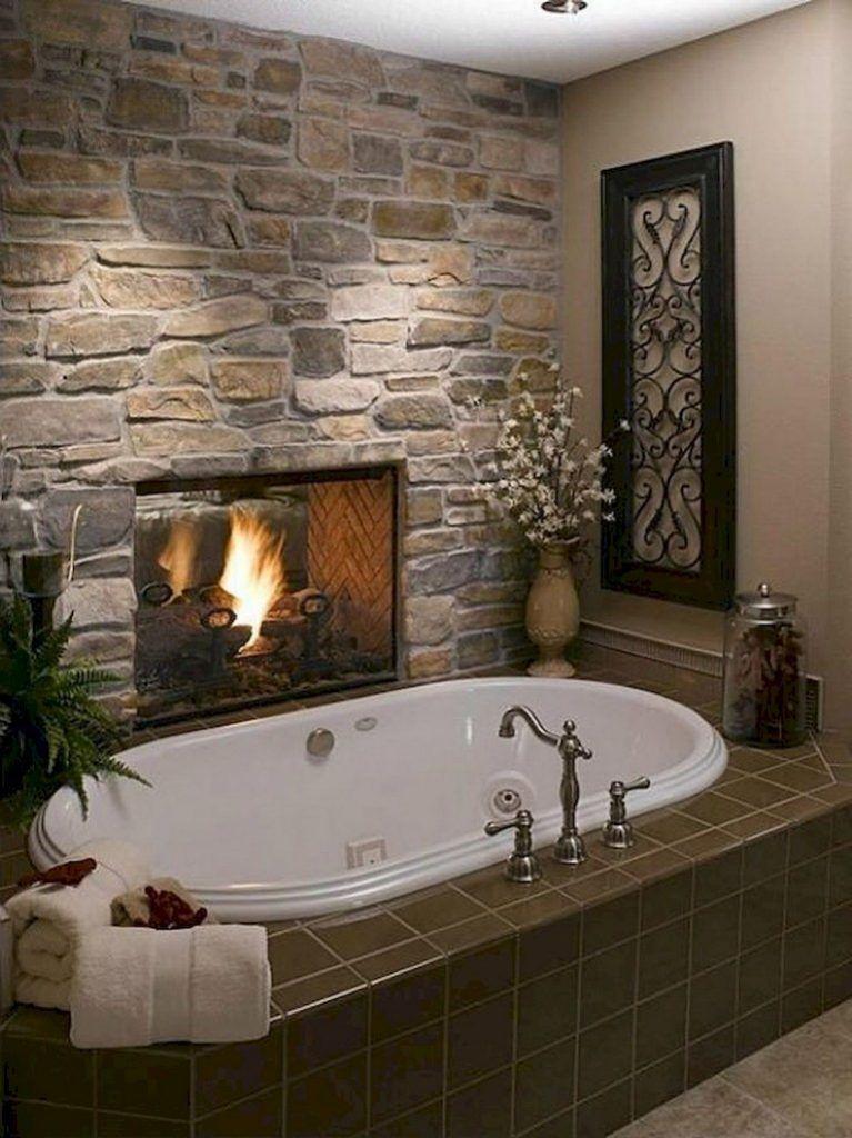 73 Awesome Farmhouse Rustic Master Bathroom Remodel Ideas Rustic Master Bathroom Bathroom Fireplace Rustic Bathroom Designs
