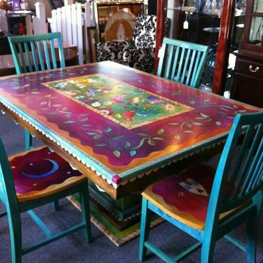 Painted Dining Room Table Funky Painted Furniture Boho Furniture Painted Furniture