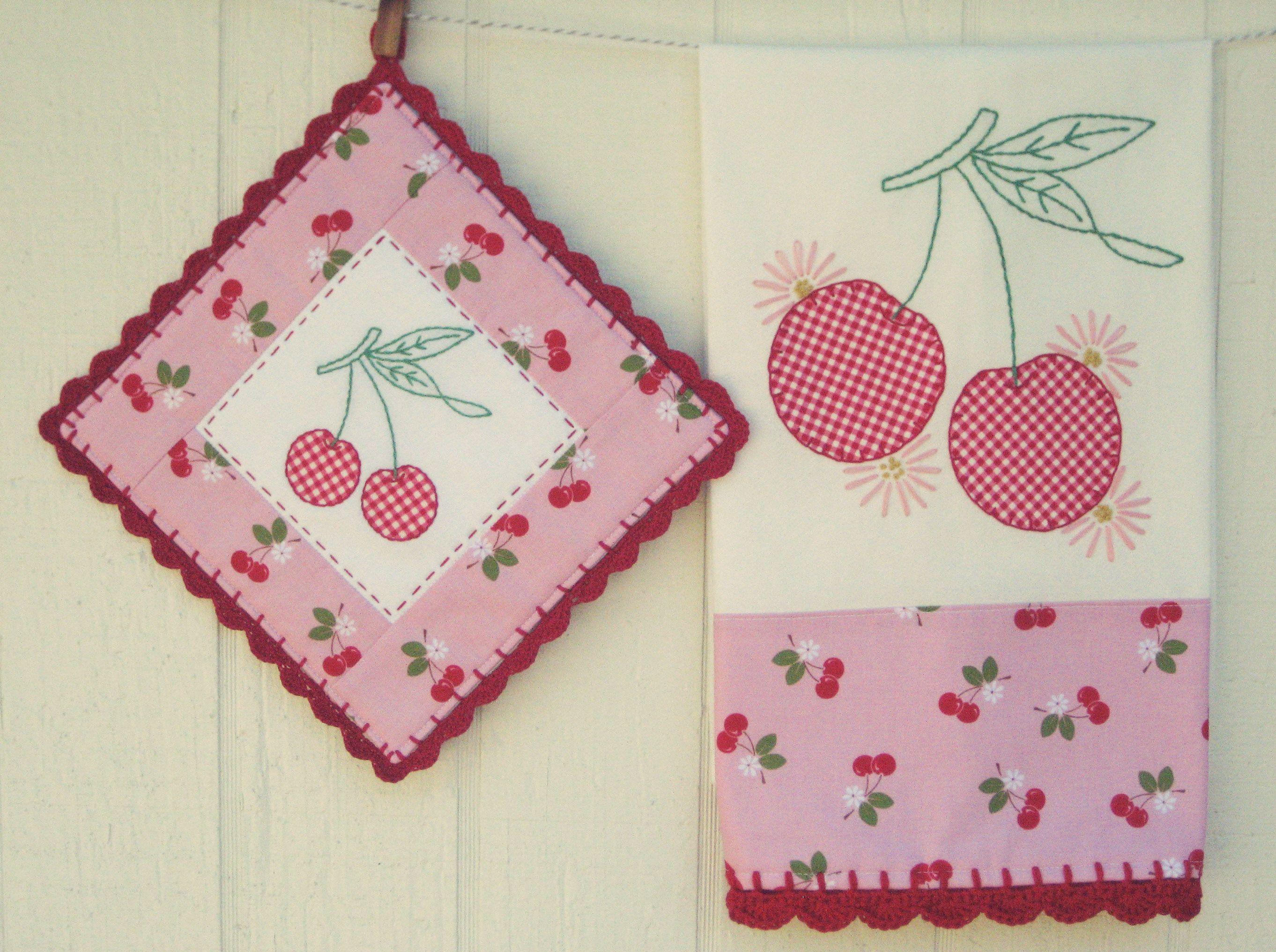 Sweet Cherries Tea Towel And Pot Holder Setmade To Order