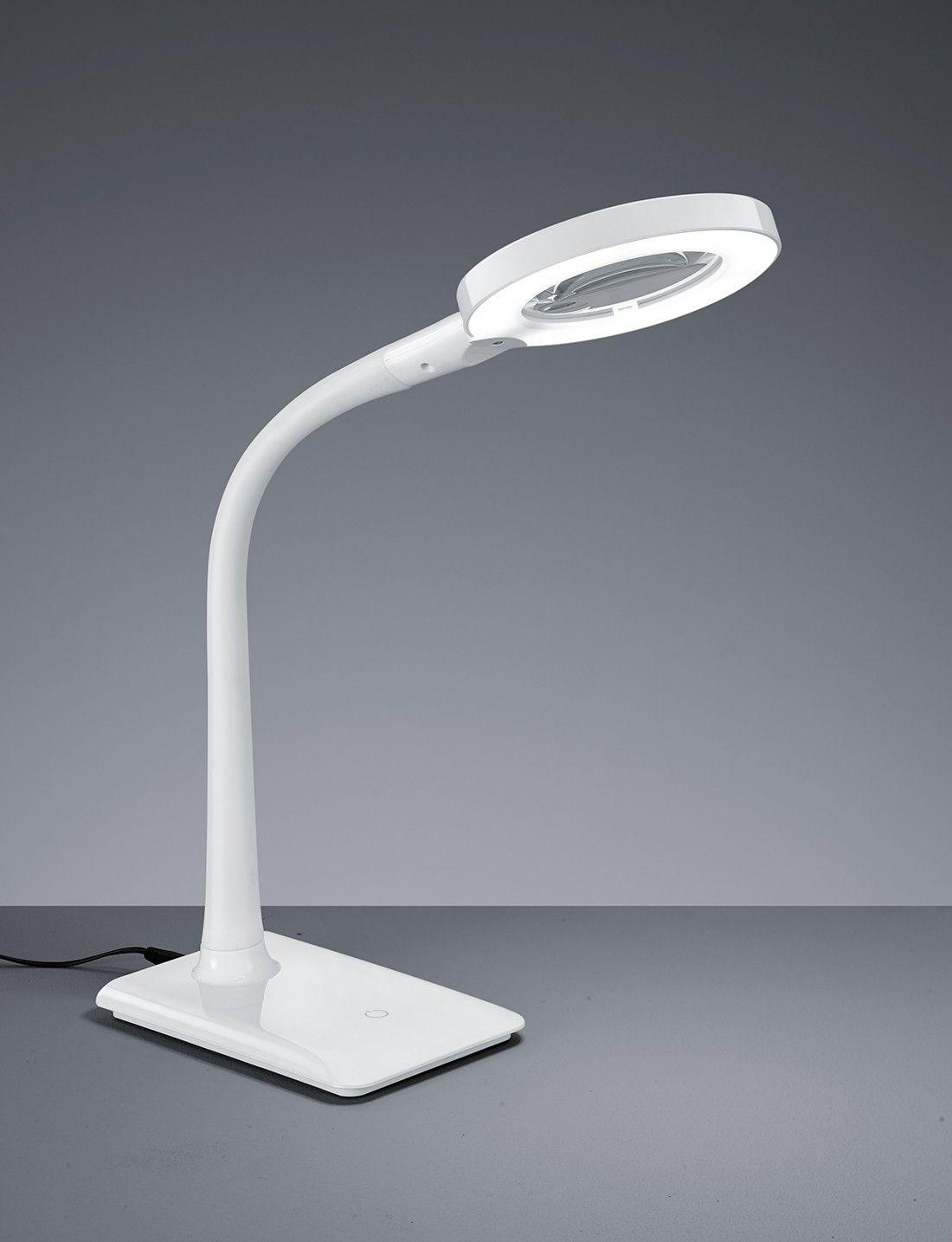 Lampe de bureau une lumire LED flexible en mtal coloris blanc