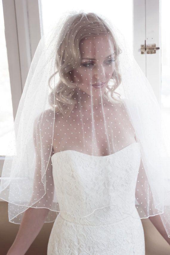 5281f5cb8b Polka Dot Illusion Tulle Wedding Veil with Pencil by veiledbeauty