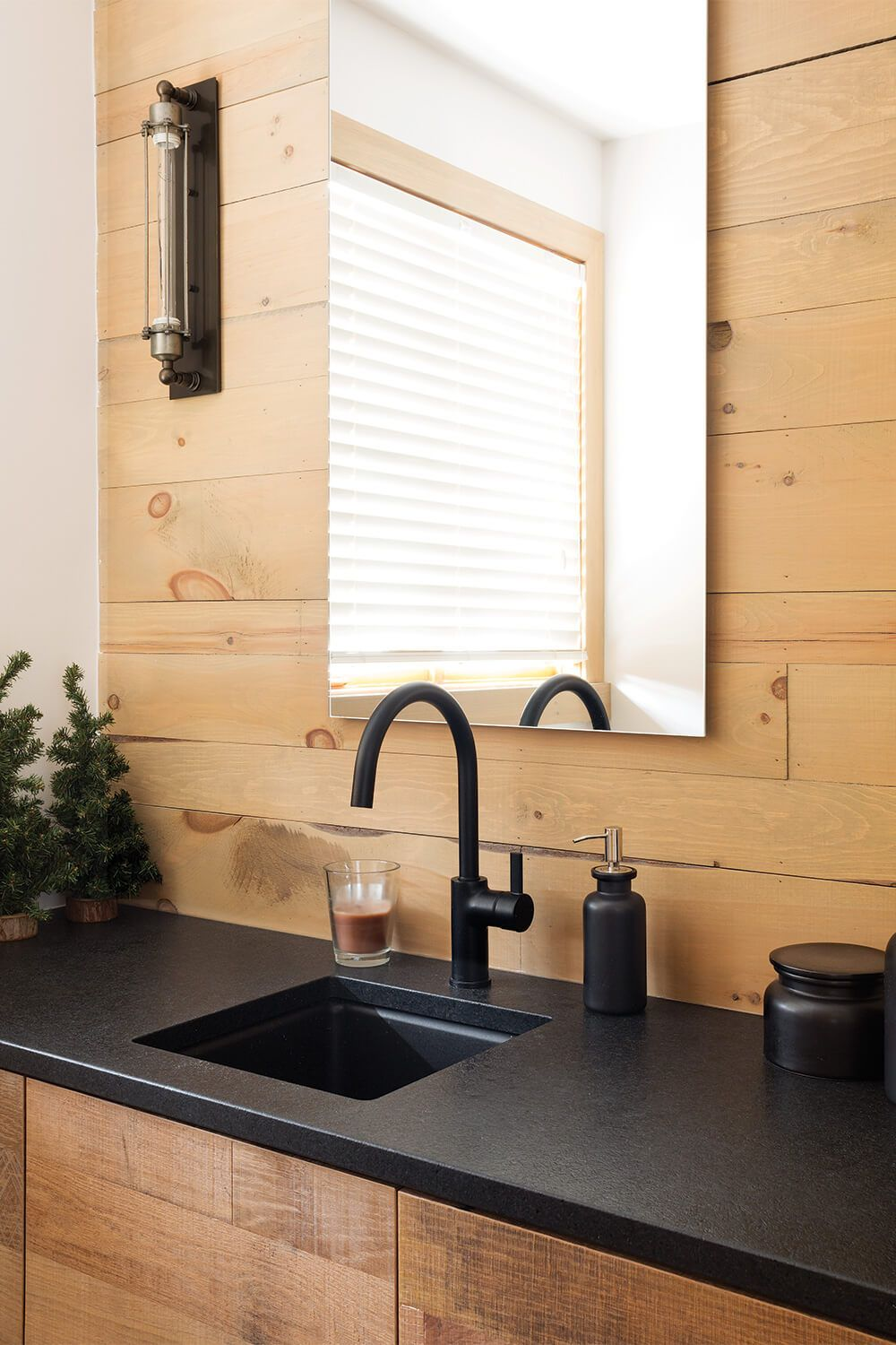 Black Faucet With Matte Countertop