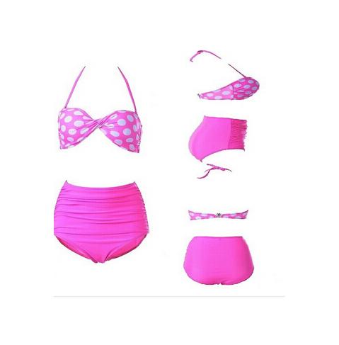 2016 New Arrival Vintage Print Bikini Top + Bandage Bottom Swimsuit