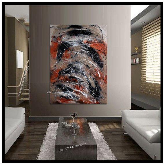 Large Oil Painting Orange Black White Abstract Art