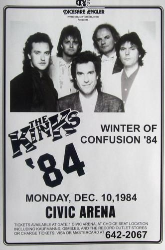 The Kinks Winter of Confusion '84 Ray Dave Davies Concert Limited Poster Print