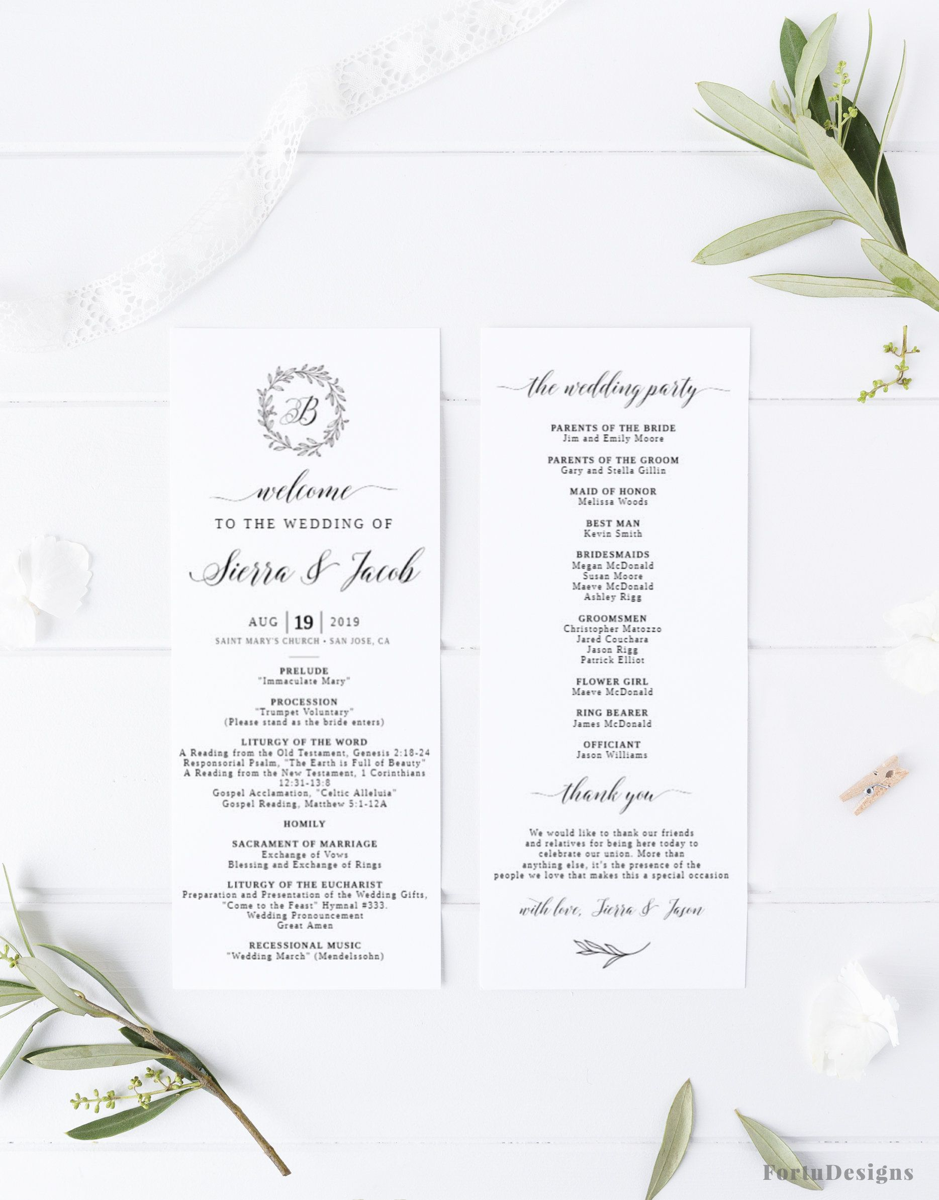 Catholic Wedding Program Template Elegant Wedding