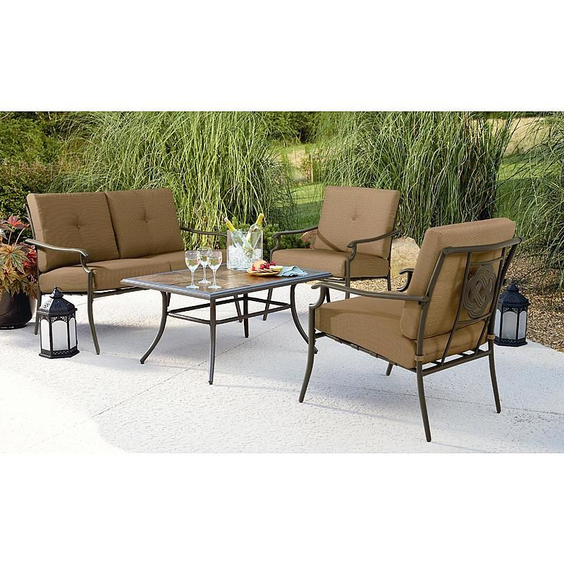 Oasis 4 Seater Garden Lounging Table And Chairs Set: Emery 4Pc Cushion Seating