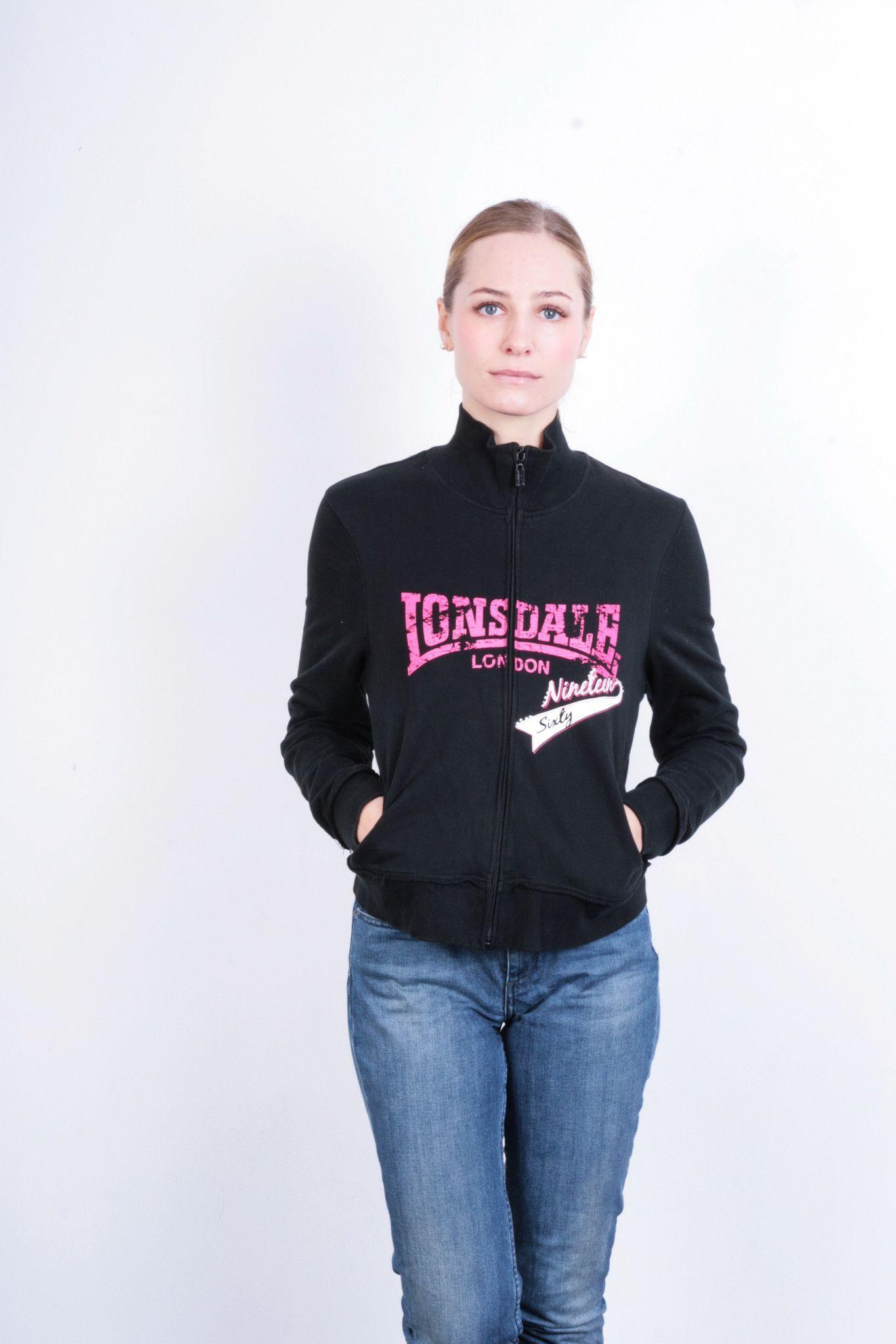 4e49e70febe7 Lonsdale London Womens 12 M Sweatshirt Black Sport Jumper Cotton Sport
