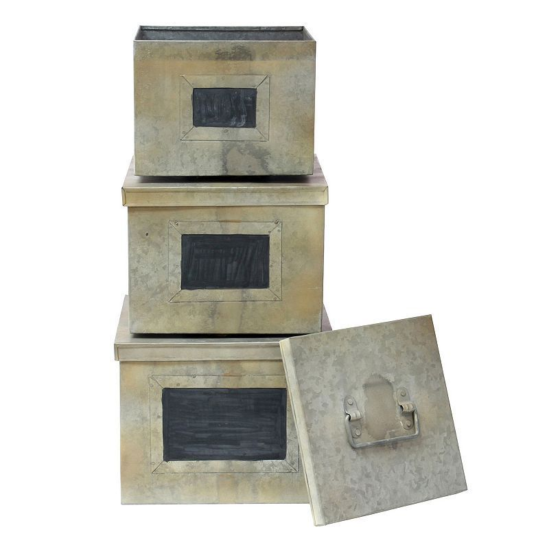 Stonebriar Collection Galvanized & Chalkboard Metal Storage Box 3-piece Set, Silver