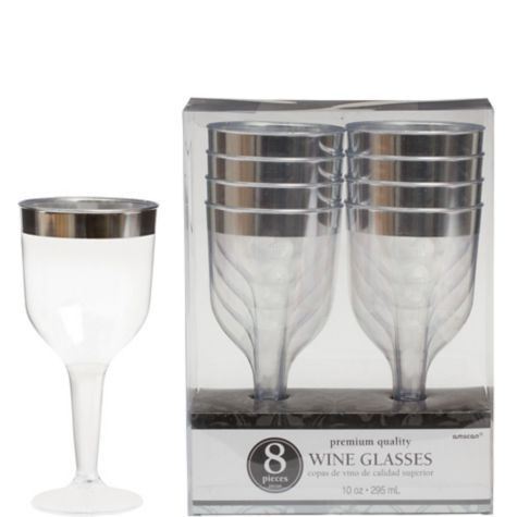 ec6ead52fb1 CLEAR Silver Trimmed Premium Plastic Wine Glasses 8ct - Party City ...