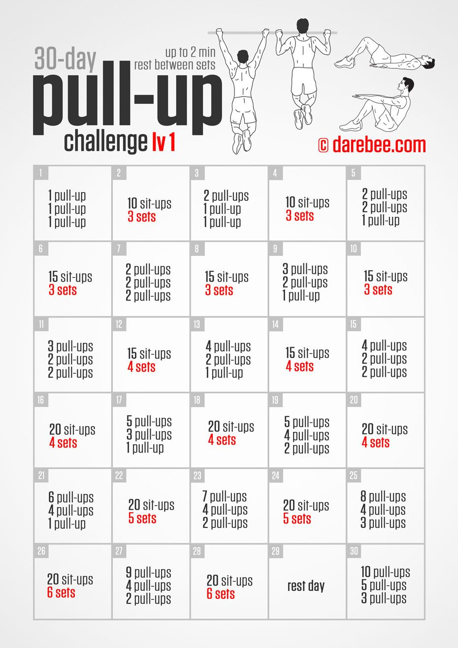 30 day pull up challenge fitness pinte. Black Bedroom Furniture Sets. Home Design Ideas