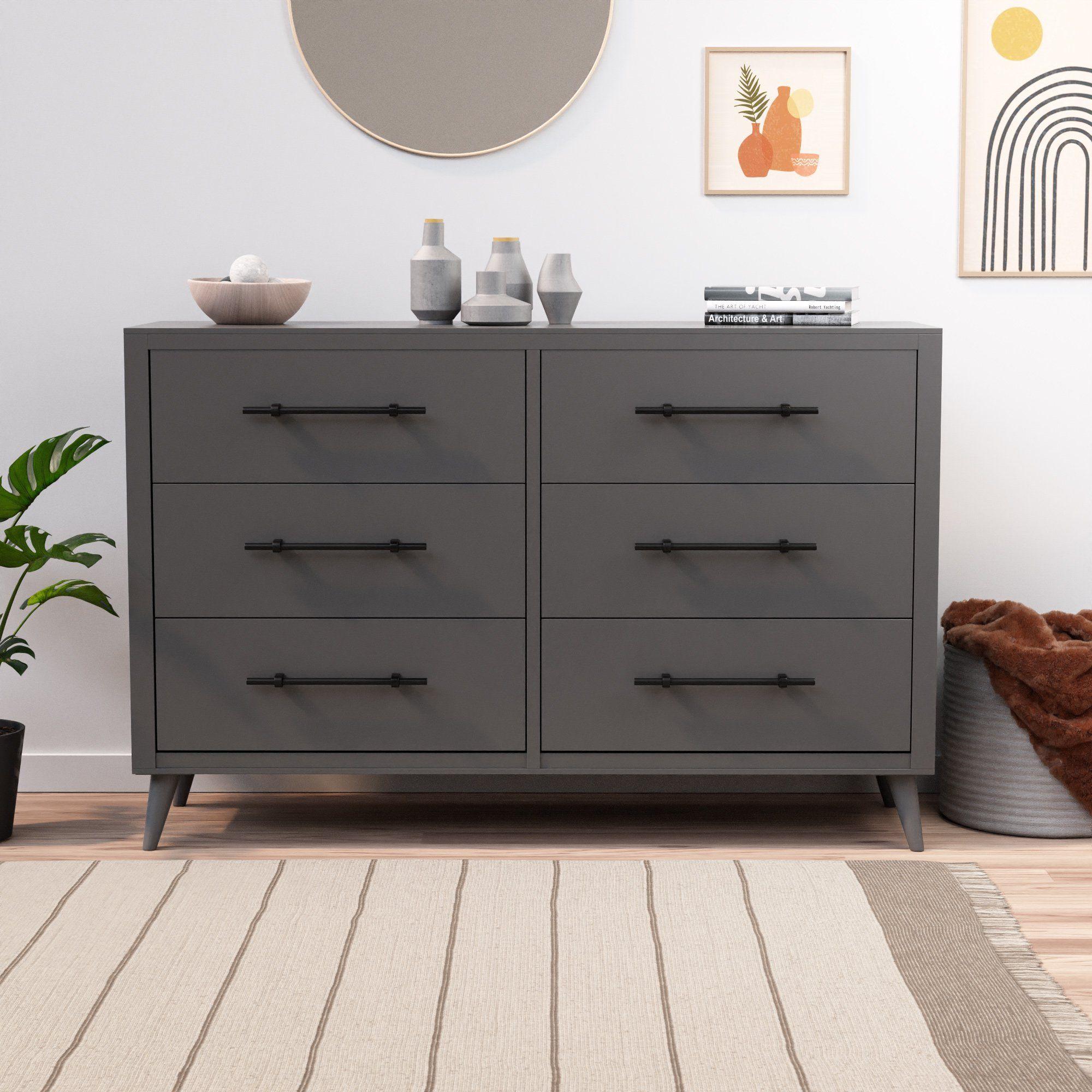 Rest Haven Mid Century Modern 6 Drawer Dresser Gray Walmart Com In 2021 Black Dresser Bedroom Dresser Drawers 6 Drawer Dresser [ 2000 x 2000 Pixel ]
