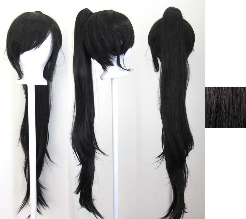 40'' Wavy Claw Clip Pony Tail Black Cosplay Wig #FullWig