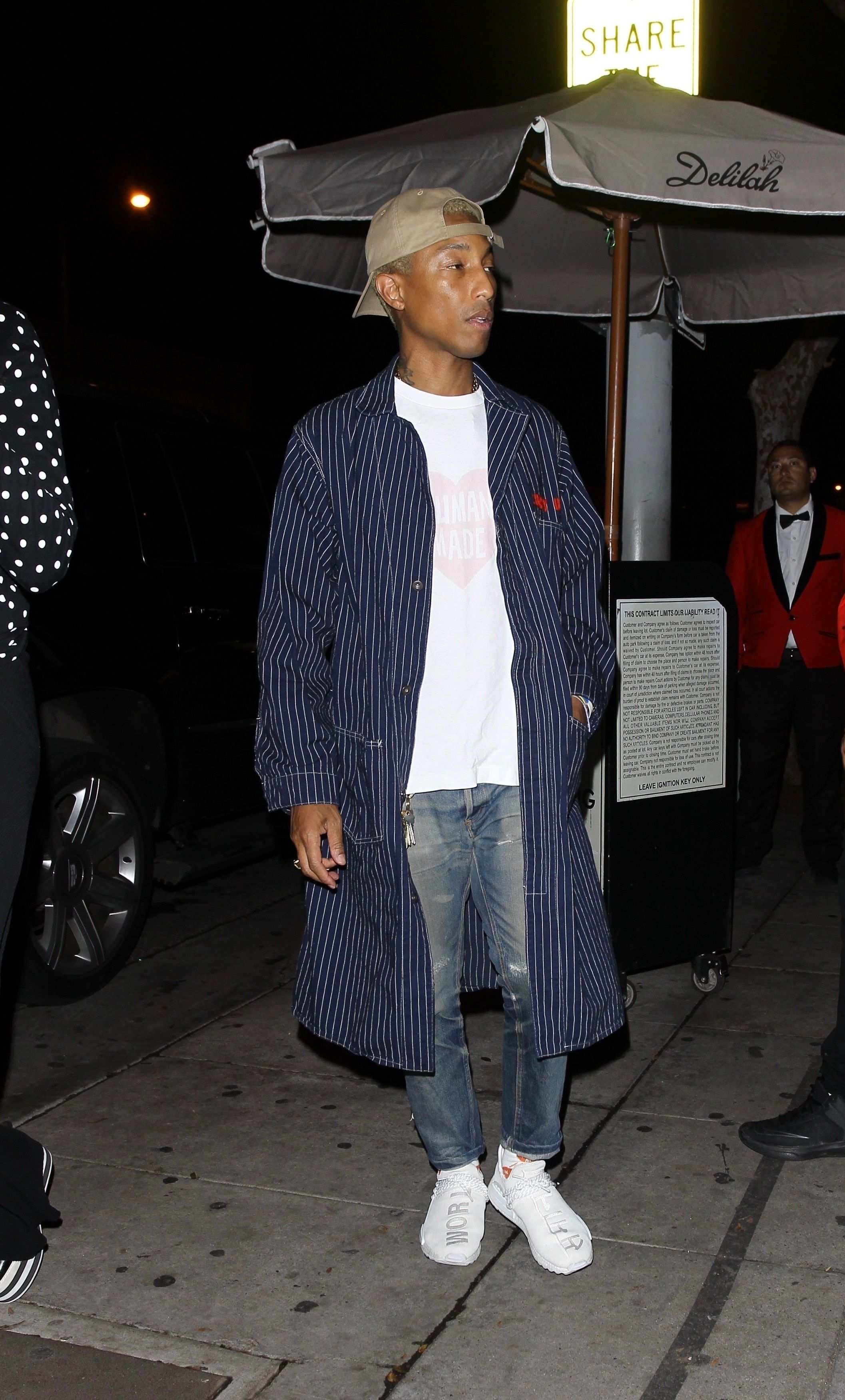 3dc4c058f750d Pharrell Williams wearing Human Made Curry Up Coat