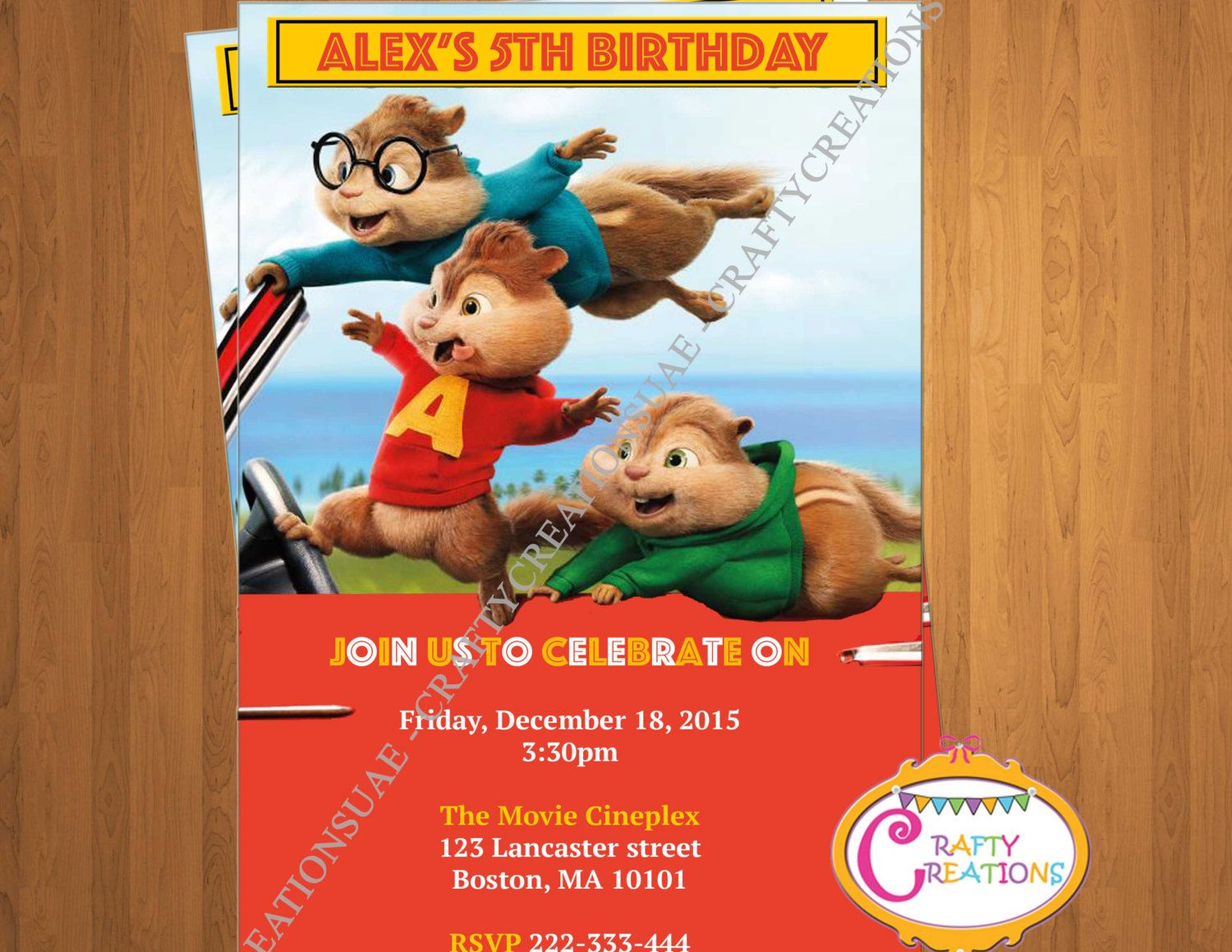 Alvin And The Chipmunks Road Chip Invitation