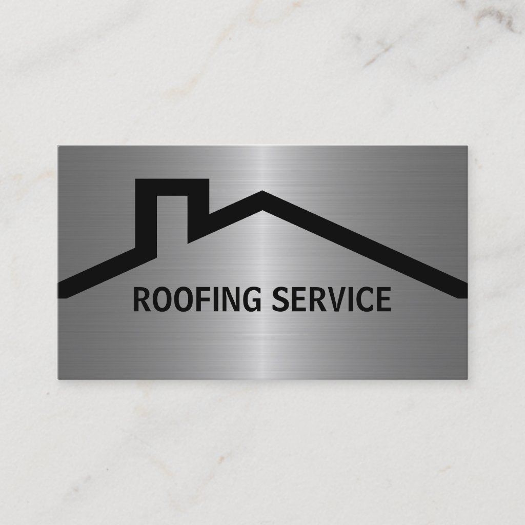 Simple Roofing Business Cards With A House Roof Along With Text You Can Easily Customize Online And Cool Metallic Looking Background Printed On T In 2020 Instandhaltung