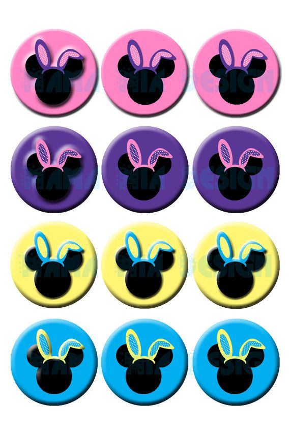 Mickey and minnie easter bunny print your own stickers at home instant download