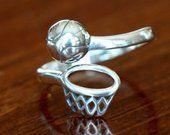 Basketball Ring Basketball Gift Basketball Jewelry Sterling Silver Basketball Player Senior Gift Adjustable Size
