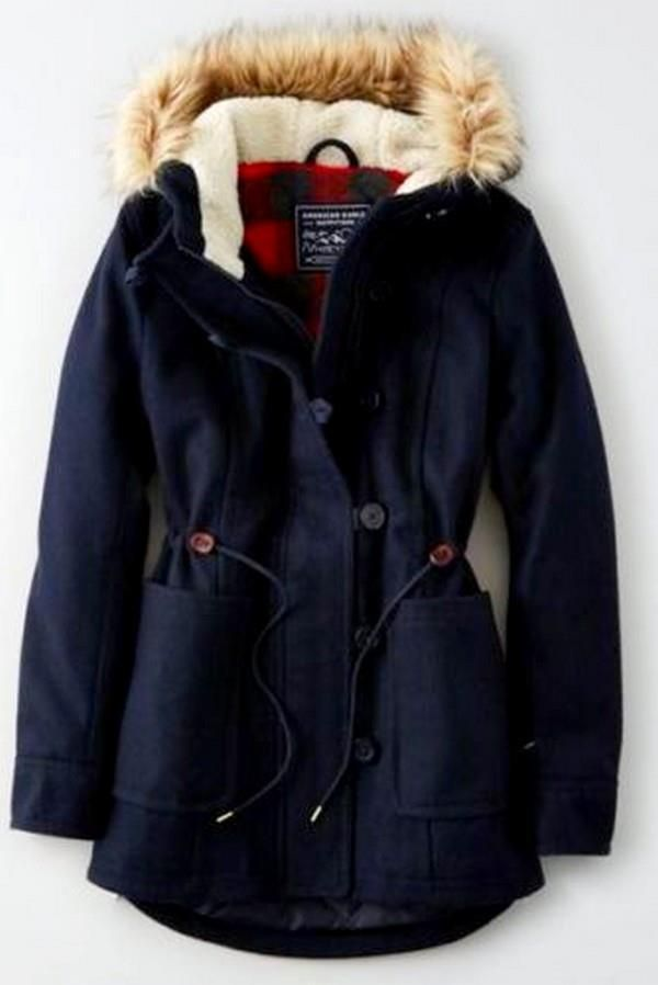 NEW Woman's M American Eagle Long Wool Parka Coat Fur Hood Navy ...