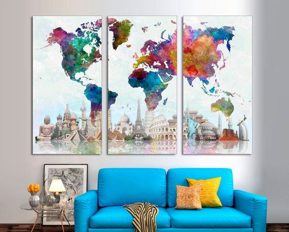 3 panel split abstract world map canvas print15 deep frames 3 panel split abstract world map canvas print15 deep framestriptych watercolor effect map for homeoffice wall decor interior design office wall gumiabroncs Image collections