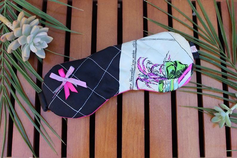Luxurious Silky Eye Mask made from Vintage Novelty Scarf ~ Sleep Mask ~ Travel Accessories ~ Sleep Right Sleep Tight