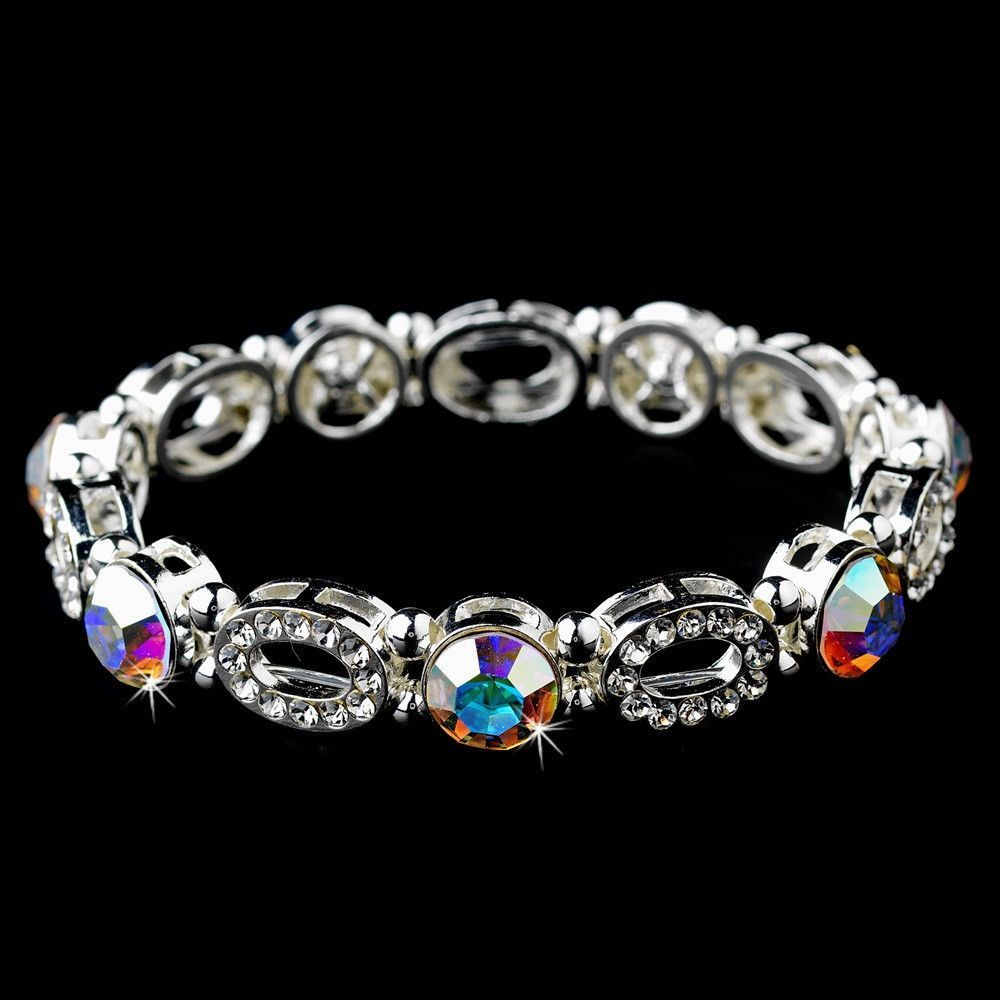 Beautiful Silver Stretch Bracelet with Aurora Borealis Crystals 10416