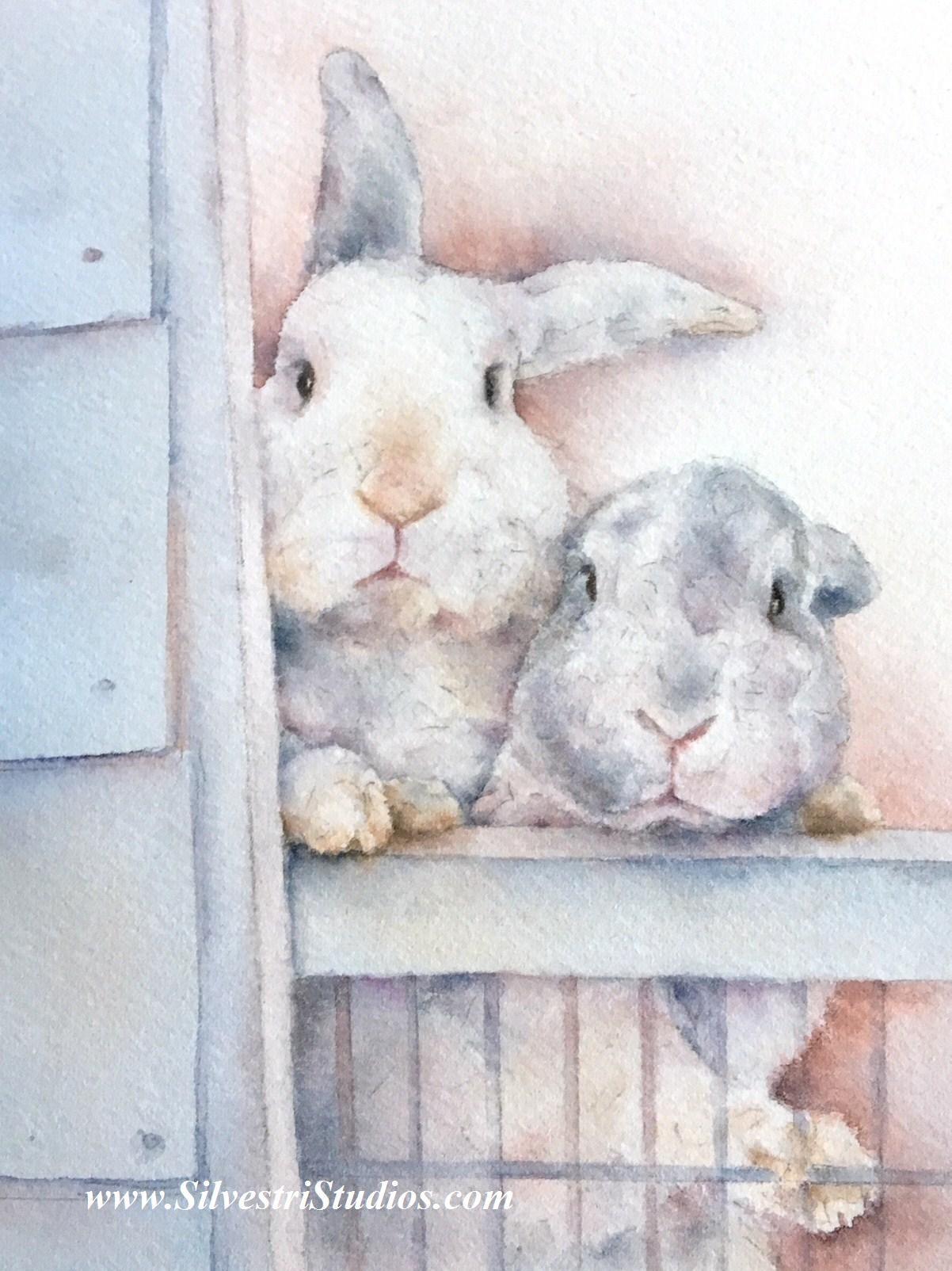 """Barney & Benji Bunnies, No. 2"", watercolor rabbits painting by animal artist, Teresa Silvestri.  Original sold, but prints & cards available.  Photo reference thanks to Lola Roberts."