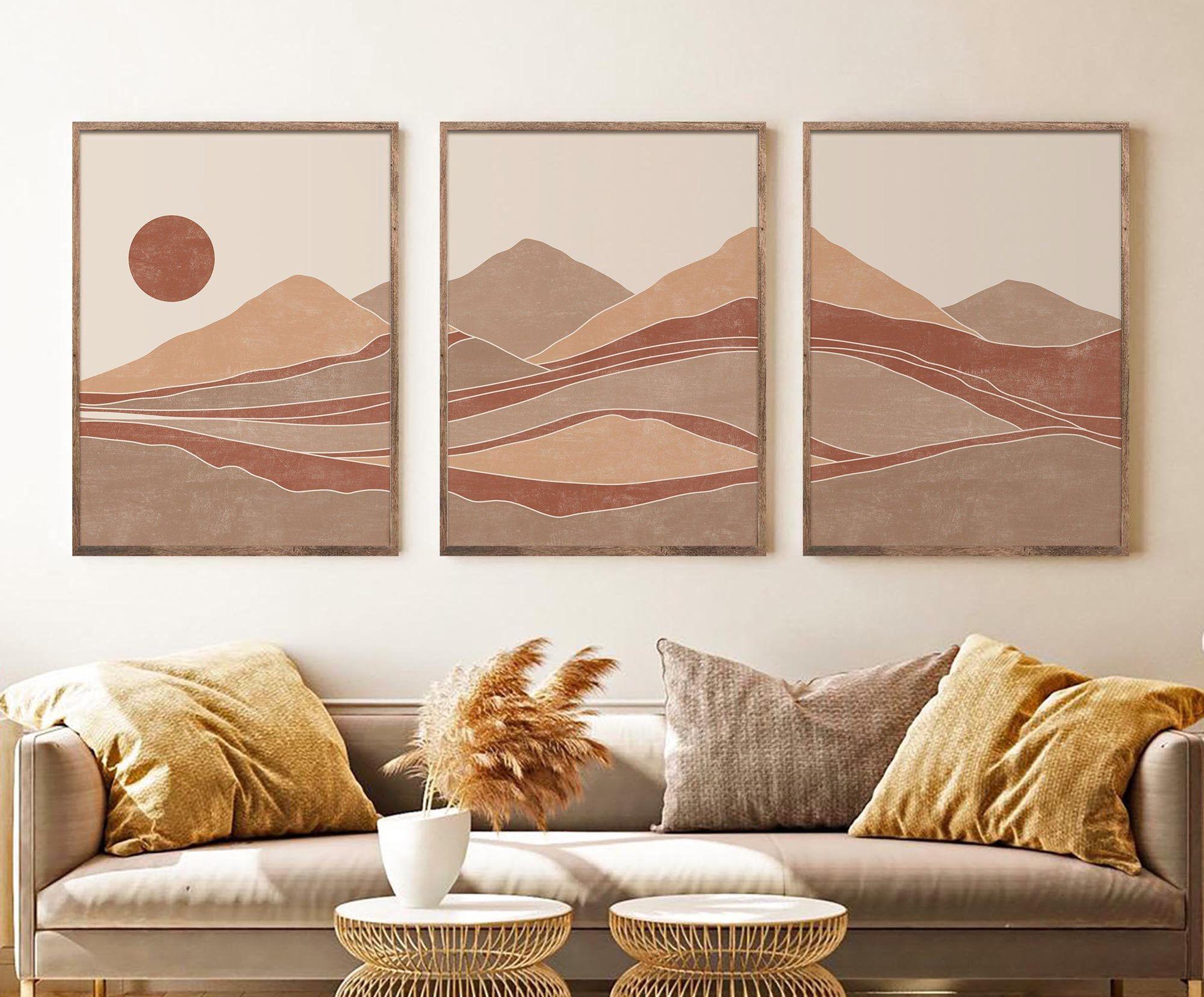 Abstract Mountain Print Set of 3, Mid Century Modern Beige Orange Minimal Abstract Landscape Wall Art, Terracotta Mountain gallery wall Art