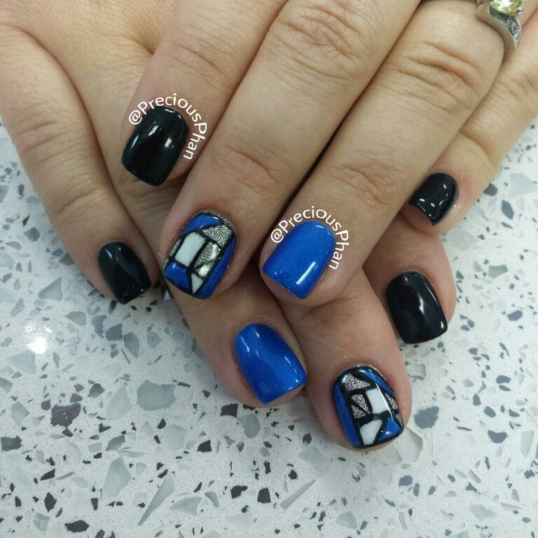 Black and blue stained glass nails | Precious Phan♥ | Pinterest ...