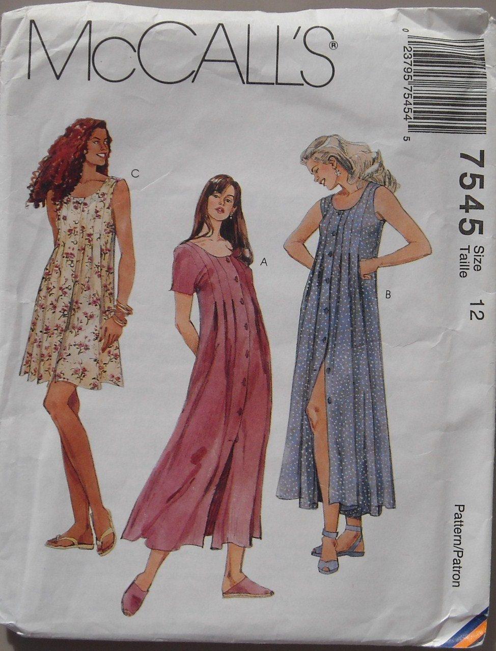 Mccalls 7545 90 S Dress Misses Size 12 Uncut 4 95 Via Etsy I Miss 90s Fashion Trendy Sewing Patterns Sewing Pattern Sizes Vintage Dress Patterns