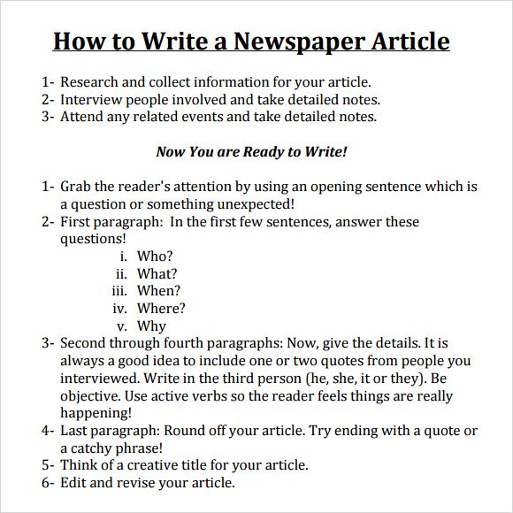 Writing a newspaper article elementary