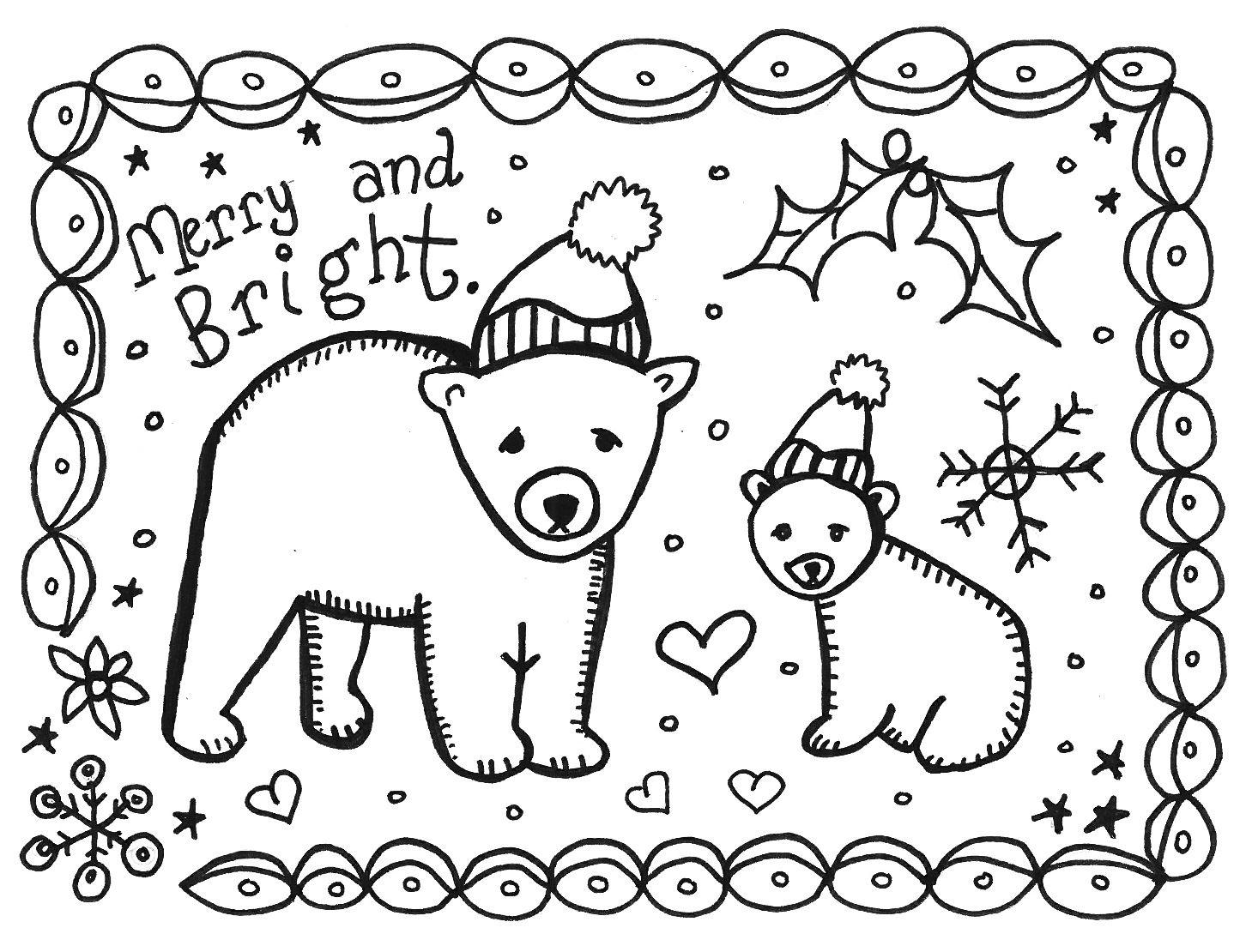 Winter Holidays Coloring Page Printable Christmas Cards Free