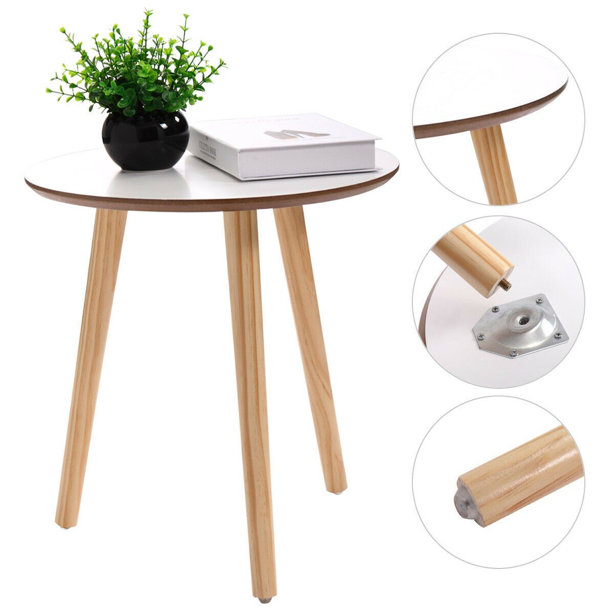 - Wood Furniture Modern Round Coffee End/Tea Table Living Room Home